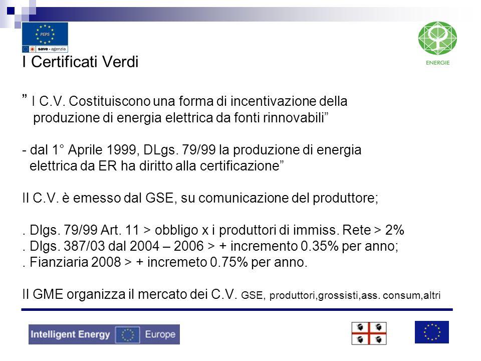 I Certificati Verdi I C.V. Costituiscono una forma di incentivazione della produzione di energia elettrica da fonti rinnovabili - dal 1° Aprile 1999,