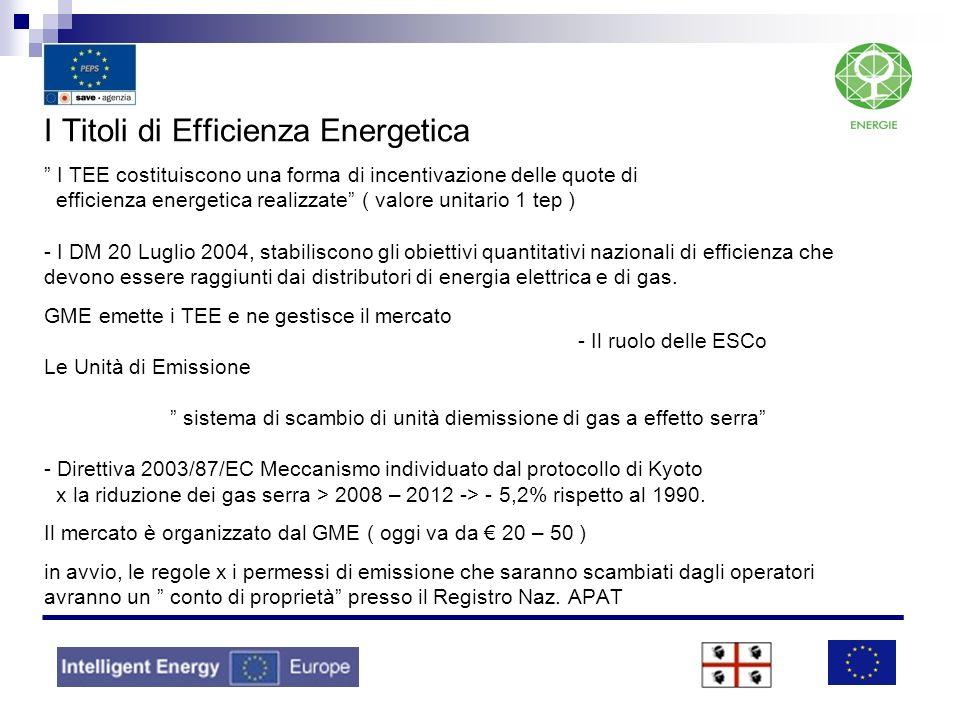I Titoli di Efficienza Energetica I TEE costituiscono una forma di incentivazione delle quote di efficienza energetica realizzate ( valore unitario 1