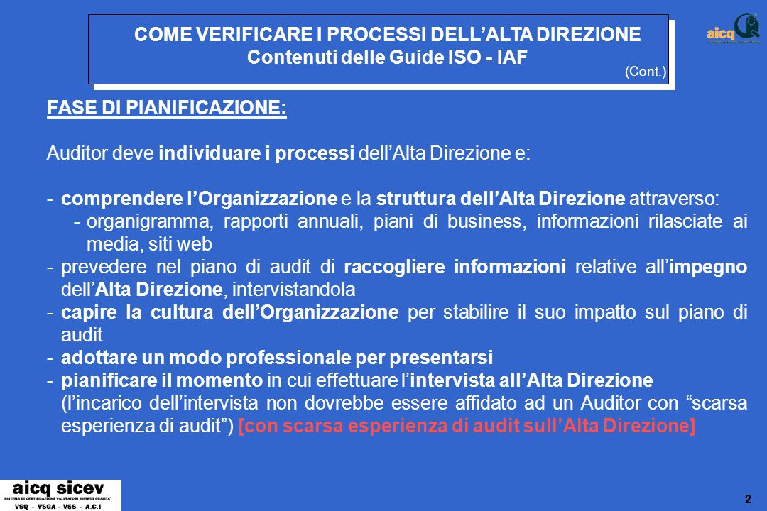 33 COME VERIFICARE I PROCESSI DELLALTA DIREZIONE Contenuti delle Guide ISO - IAF CONDUZIONE DELLAUDIT: Metodi per valutare limpegno dellAlta Direzione: 1.
