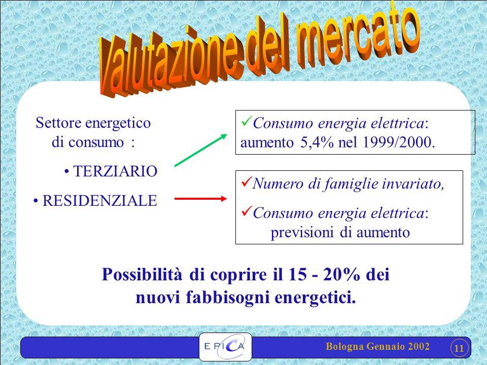 11 Settore energetico di consumo : TERZIARIO RESIDENZIALE Numero di famiglie invariato, Consumo energia elettrica: previsioni di aumento Consumo energia elettrica: aumento 5,4% nel 1999/2000.