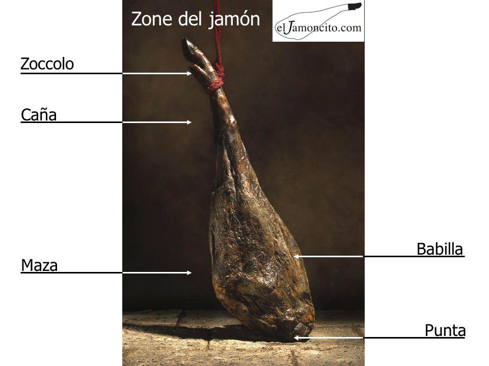 Paso 3 Fine della fetta Coltello sempre piano sul jamón. Fetta di circa 5 cm di lunghezza.