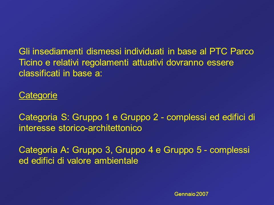 Gli insediamenti dismessi individuati in base al PTC Parco Ticino e relativi regolamenti attuativi dovranno essere classificati in base a: Categorie Categoria S: Gruppo 1 e Gruppo 2 - complessi ed edifici di interesse storico-architettonico Categoria A: Gruppo 3, Gruppo 4 e Gruppo 5 - complessi ed edifici di valore ambientale Gennaio 2007