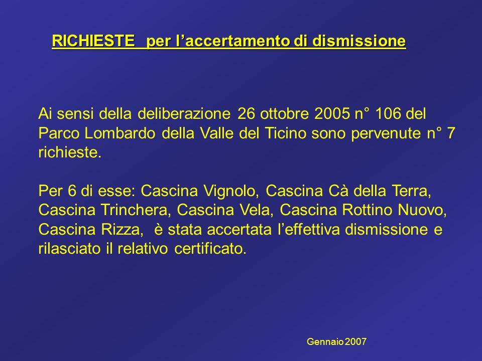 RICHIESTE per laccertamento di dismissione Ai sensi della deliberazione 26 ottobre 2005 n° 106 del Parco Lombardo della Valle del Ticino sono pervenut