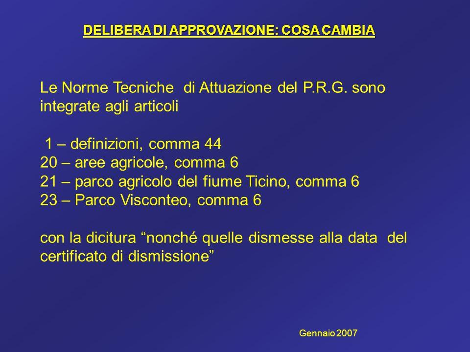 DELIBERA DI APPROVAZIONE: COSA CAMBIA Le Norme Tecniche di Attuazione del P.R.G. sono integrate agli articoli 1 – definizioni, comma 44 20 – aree agri