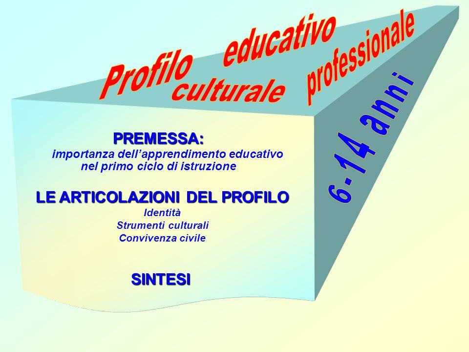 PREMESSA: importanza dellapprendimento educativo nel primo ciclo di istruzione LE ARTICOLAZIONI DEL PROFILO Identità Strumenti culturali Convivenza ci