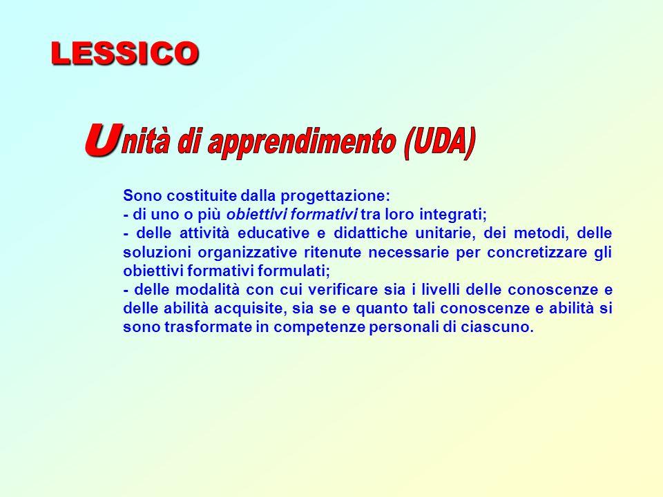 LESSICO U Sono costituite dalla progettazione: - di uno o più obiettivi formativi tra loro integrati; - delle attività educative e didattiche unitarie