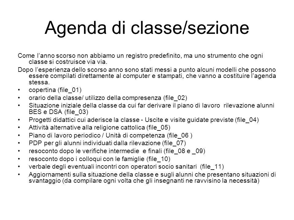 Agenda di classe/sezione Come lanno scorso non abbiamo un registro predefinito, ma uno strumento che ogni classe si costruisce via via.