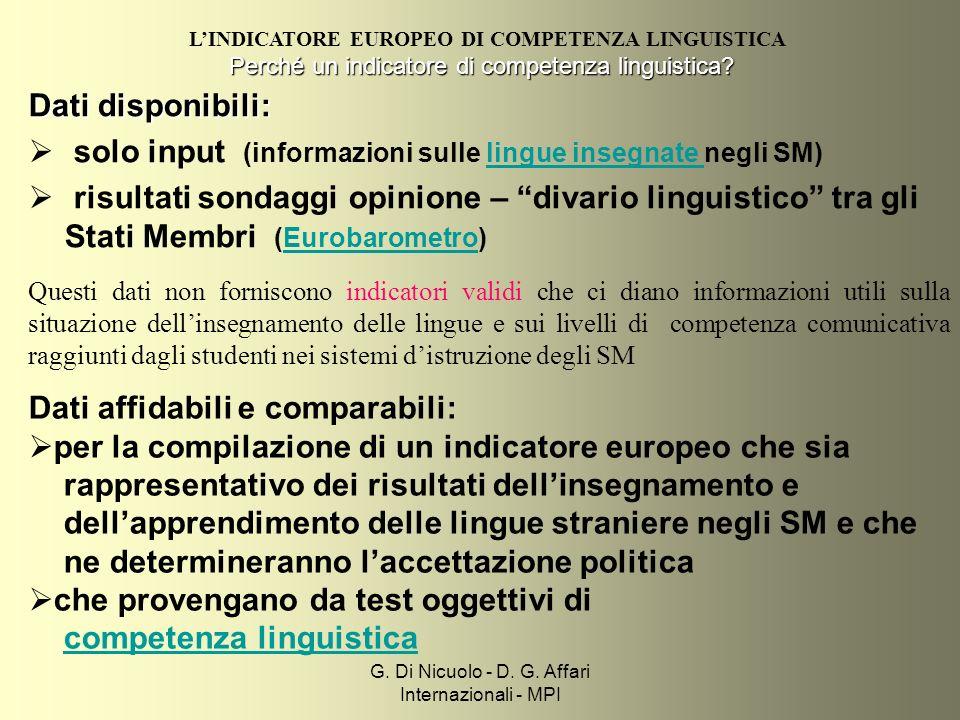 G. Di Nicuolo - D. G. Affari Internazionali - MPI Perché un indicatore di competenza linguistica.