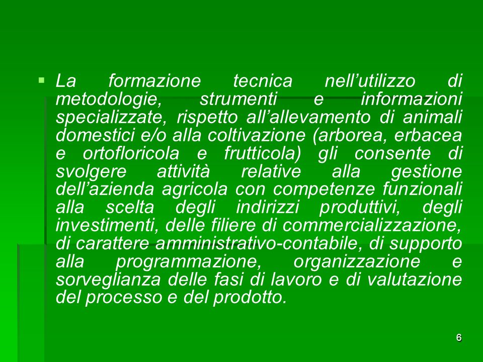 7 Piano di studi classi prima e seconda AGROTECNICO NUOVO ORDINAMENTO Materie di Insegnamento AREA COMUNE -LINGUA E LETTERATURA ITALIANA -STORIA, CITTADINANZA E COSTITUZIONE -DIRITTO ED ECONOMIA -LINGUA INGLESE -MATEMATICA -SCIENZE INTEGRATE (SCIENZE DELLA TERRA E BIOLOGIA) -SCIENZE MOTORIE E SPORTIVE -RELIGIONE Materie di Insegnamento AREA DI INDIRIZZO -ECOLOGIA E PEDOLOGIA -SCIENZE INTEGRATE (CHIMICA) -SCIENZE INTEGRATE (FISICA) -TECNOLOGIE DELLINFORMAZIONE E DELLA COMUNICAZIONE -LABORATORI TECNOLOGICI ED ESERCITAZIONI