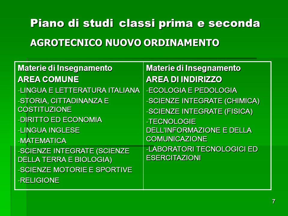 7 Piano di studi classi prima e seconda AGROTECNICO NUOVO ORDINAMENTO Materie di Insegnamento AREA COMUNE -LINGUA E LETTERATURA ITALIANA -STORIA, CITT