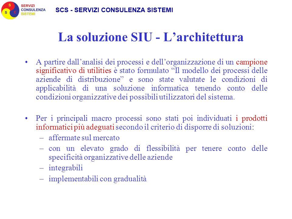 La soluzione SIU - Larchitettura A partire dallanalisi dei processi e dellorganizzazione di un campione significativo di utilities è stato formulato I
