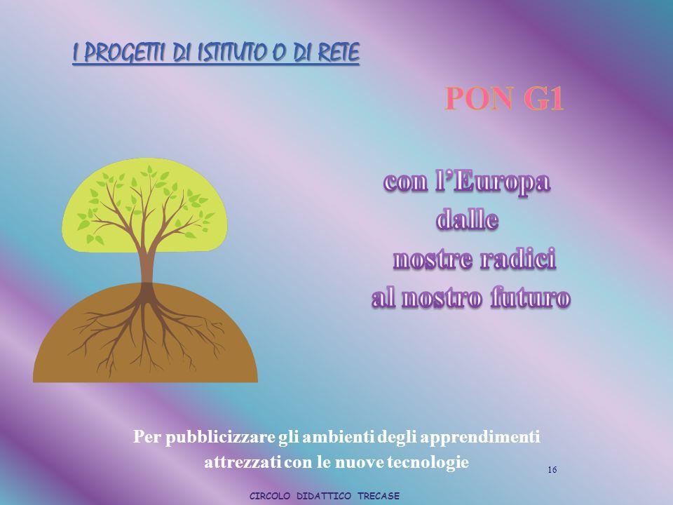 I PROGETTI DI ISTITUTO O DI RETE 16 Per pubblicizzare gli ambienti degli apprendimenti attrezzati con le nuove tecnologie CIRCOLO DIDATTICO TRECASE