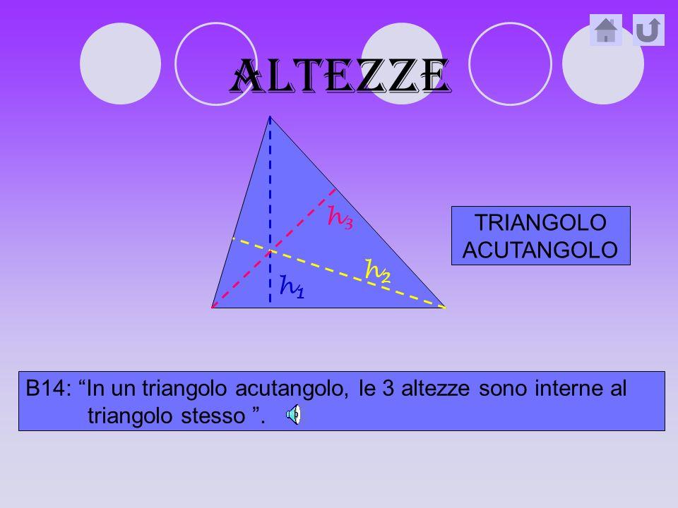 Basi e altezze B12: La base (b) è il lato su cui poggia il triangolo quindi, ogni triangolo ha 3 basi.