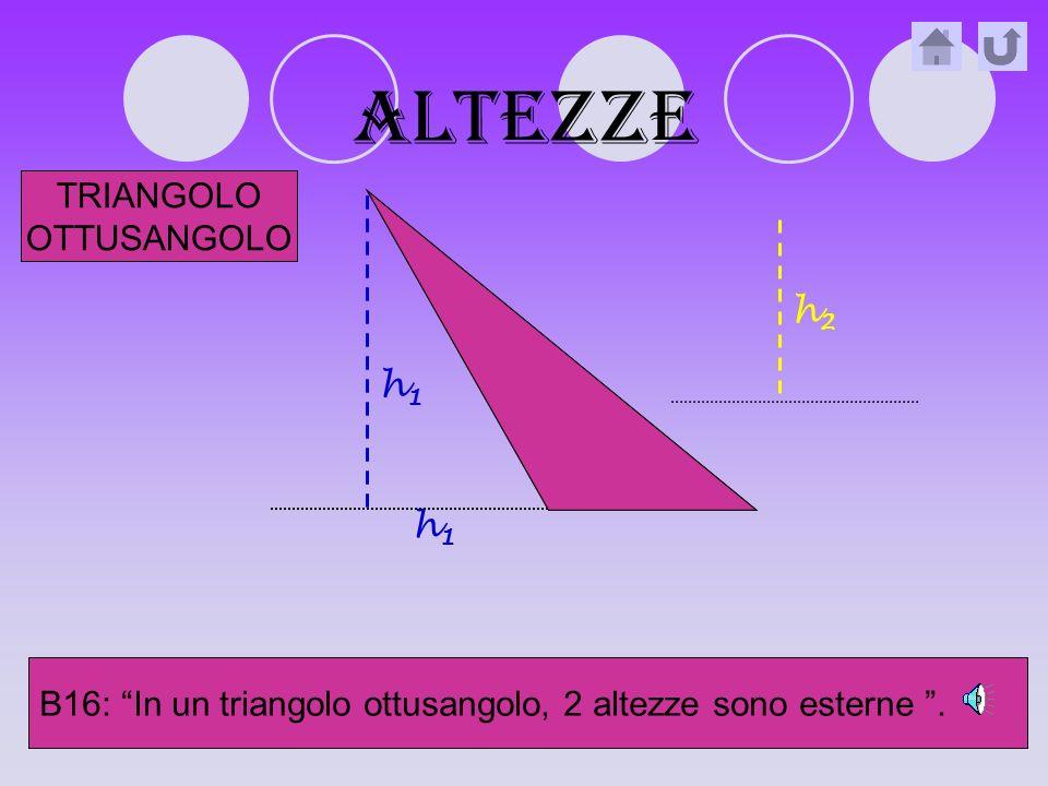 altezze B15: In un triangolo rettangolo, 2 altezze coincidono con i cateti.