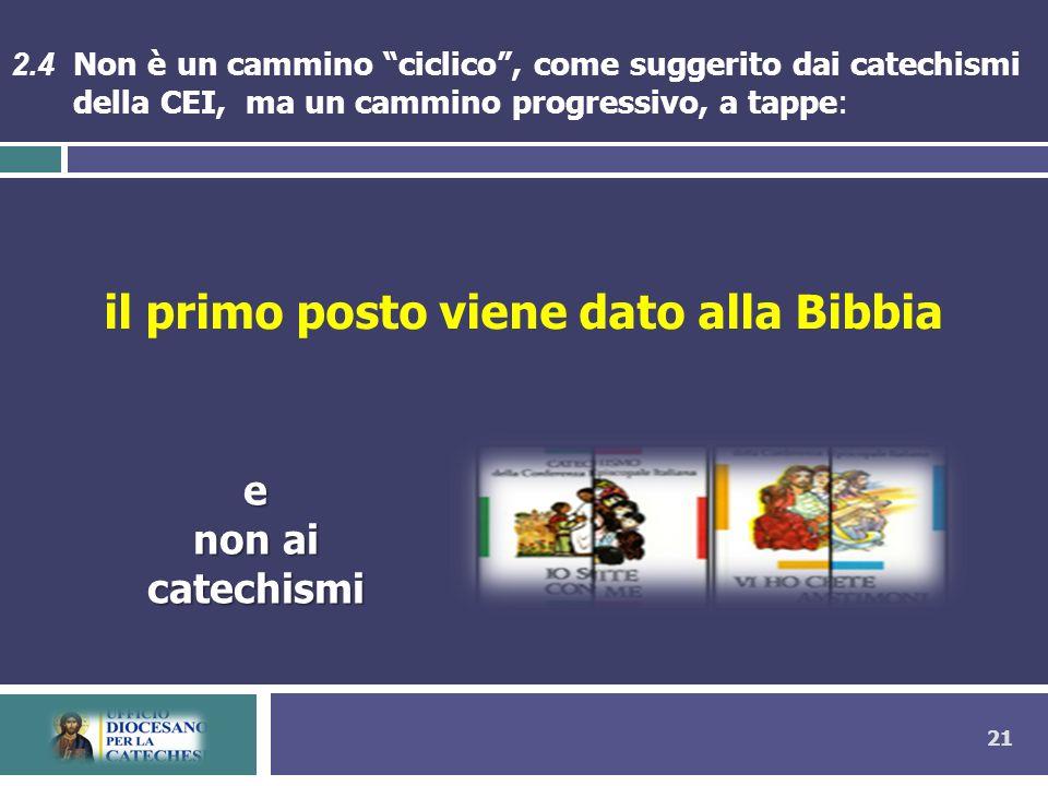 21 il primo posto viene dato alla Bibbia 2.4 Non è un cammino ciclico, come suggerito dai catechismi della CEI, ma un cammino progressivo, a tappe: e non ai catechismi