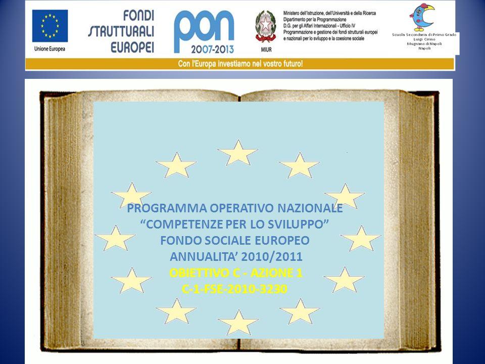 PROGRAMMA OPERATIVO NAZIONALE COMPETENZE PER LO SVILUPPO FONDO SOCIALE EUROPEO ANNUALITA 2010/2011 OBIETTIVO C - AZIONE 1 C-1-FSE-2010-3230