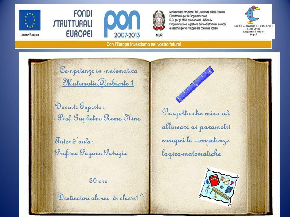 Competenze in matematica Matematic@mbiente 1 Docente Esperto : Prof. Guglielmo Remo Nino Tutor daula : Prof.ssa Pagano Patrizia 30 ore Destinatari alu
