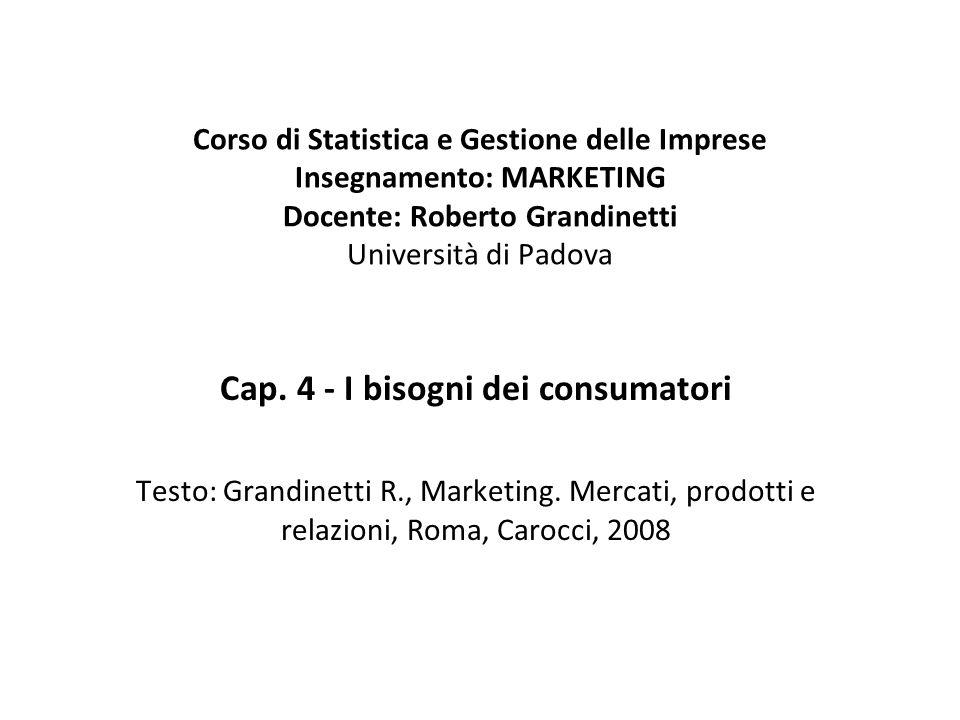 Corso di Statistica e Gestione delle Imprese Insegnamento: MARKETING Docente: Roberto Grandinetti Università di Padova Cap. 4 - I bisogni dei consumat