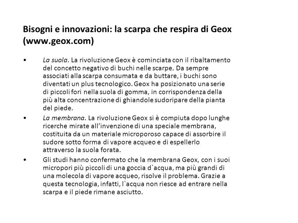 Bisogni e innovazioni: la scarpa che respira di Geox (www.geox.com) La suola. La rivoluzione Geox è cominciata con il ribaltamento del concetto negati