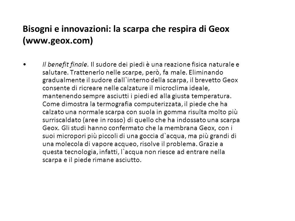 Bisogni e innovazioni: la scarpa che respira di Geox (www.geox.com) Il benefit finale. Il sudore dei piedi è una reazione fisica naturale e salutare.