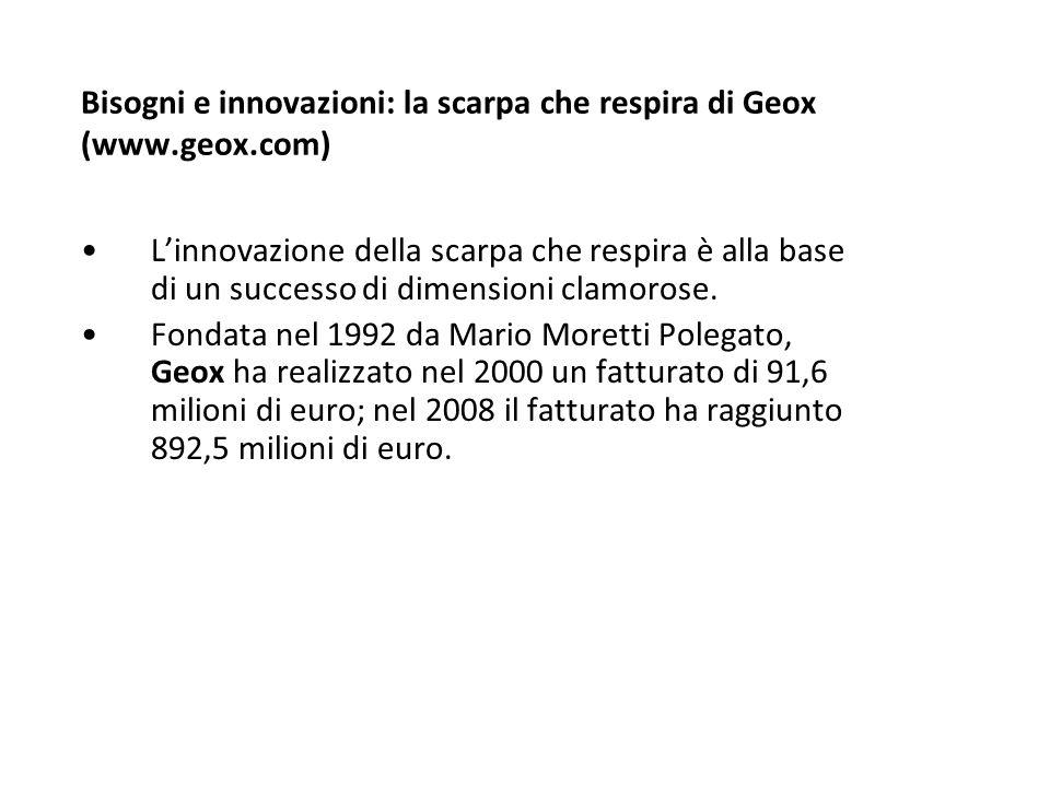 Bisogni e innovazioni: la scarpa che respira di Geox (www.geox.com) Linnovazione della scarpa che respira è alla base di un successo di dimensioni cla