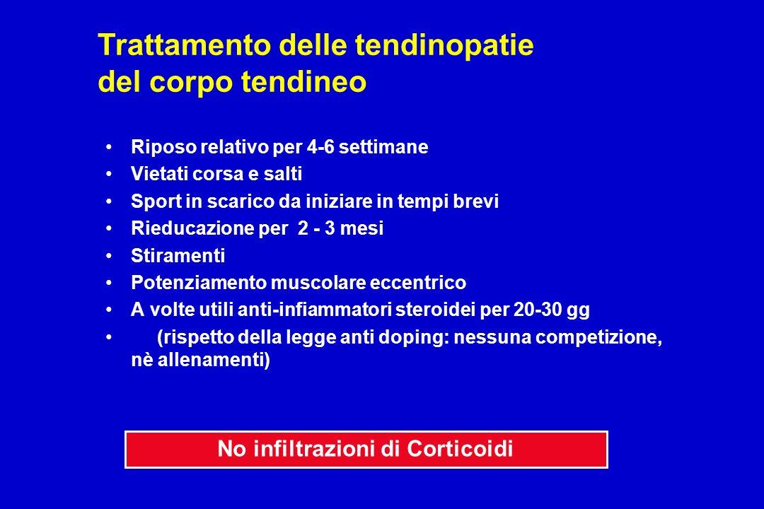 Trattamento delle tendinopatie del corpo tendineo Riposo relativo per 4-6 settimane Vietati corsa e salti Sport in scarico da iniziare in tempi brevi