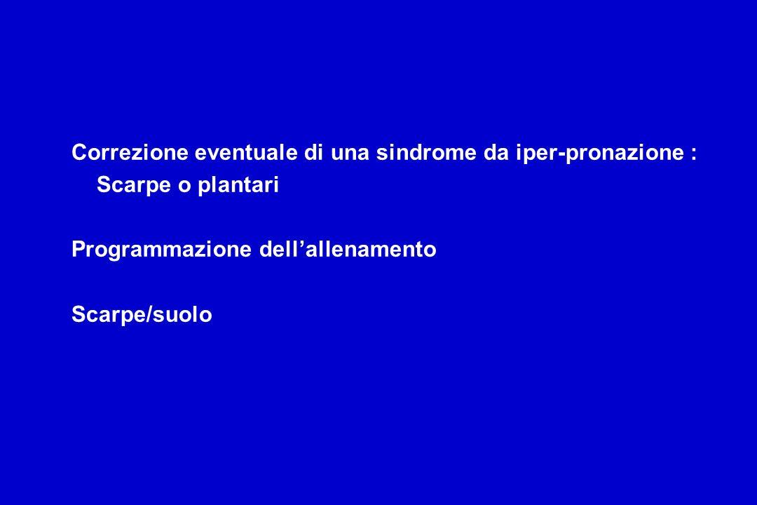 Correzione eventuale di una sindrome da iper-pronazione : Scarpe o plantari Programmazione dellallenamento Scarpe/suolo