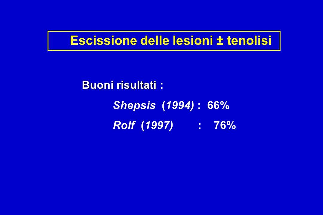 Buoni risultati Buoni risultati : Shepsis (1994) : 66% Rolf (1997) : 76% Escissione delle lesioni ± tenolisi