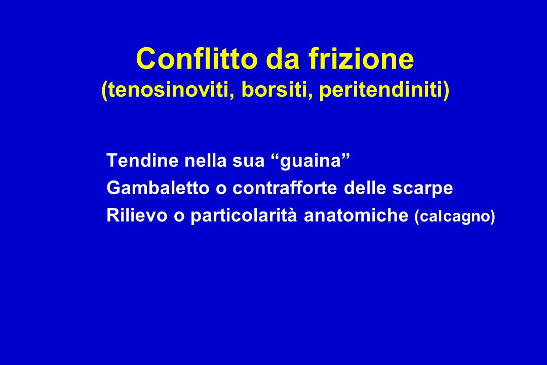 Conflitto da frizione (tenosinoviti, borsiti, peritendiniti) Tendine nella sua guaina Gambaletto o contrafforte delle scarpe Rilievo o particolarità anatomiche (calcagno)