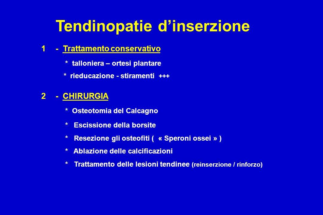 1- Trattamento conservativo * talloniera – ortesi plantare * rieducazione - stiramenti +++ 2- CHIRURGIA * Osteotomia del Calcagno * Escissione della b