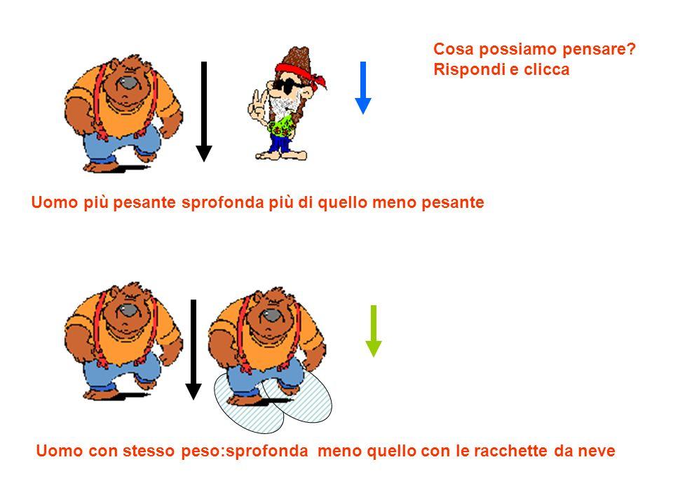 1 uomo 70 Kg e scarpe 2 decimetri quadrati 2 uomo 50 Kg e scarpe 2 decimetri quadrati Entrambi gli uomini premono con il loro peso sulla stessa area (2 dq) 2 Racchette con area 10 decimetri quadrati in totale Ma se consideriamo il rapporto tra peso e area (pressione) si trova P = massa/area P1 = 70 Kg/2 dp = 35 Kg/dq P2 = 50 Kg/2 dq = 25 Kg/dq P3 = 70 Kg/10 dq = 7 Kg/dq Quindi sembra che lo sprofondamento variabile non dipenda tanto dal peso del corpo quanto dalla pressione esercitata sulla neve: sprofonda di più quello che esercita maggior pressione
