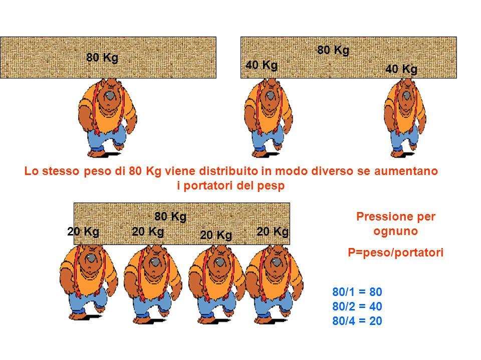 80 Kg 40 Kg 20 Kg Lo stesso peso di 80 Kg viene distribuito in modo diverso se aumentano i portatori del pesp Pressione per ognuno P=peso/portatori 80