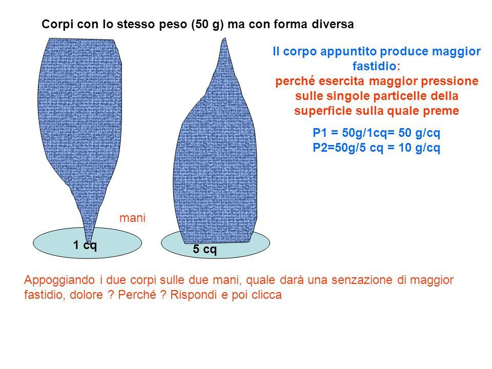 Corpi con lo stesso peso (50 g) ma con forma diversa Appoggiando i due corpi sulle due mani, quale darà una senzazione di maggior fastidio, dolore ? P