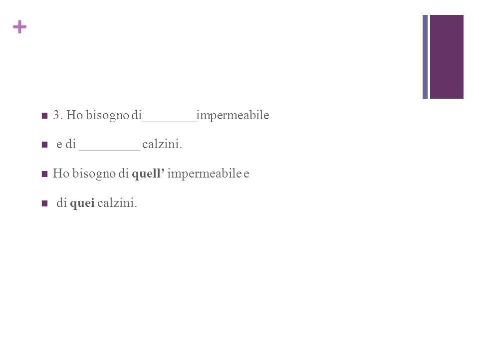 + 3. Ho bisogno di________impermeabile e di _________ calzini.