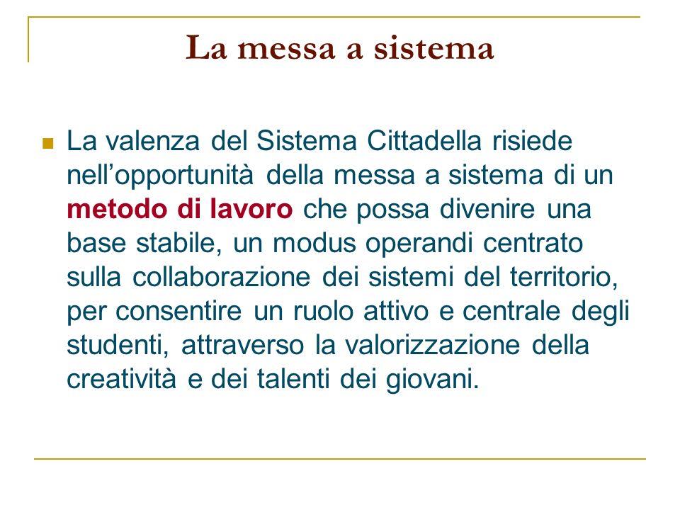 La messa a sistema La valenza del Sistema Cittadella risiede nellopportunità della messa a sistema di un metodo di lavoro che possa divenire una base