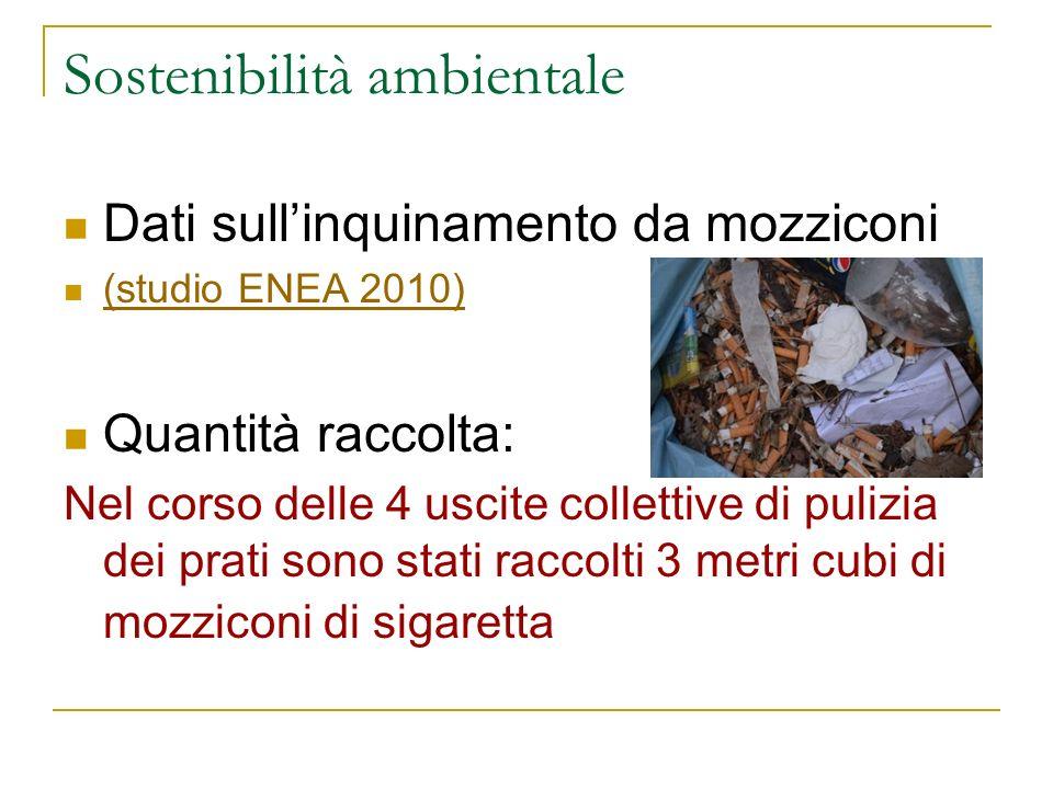 Sostenibilità ambientale Dati sullinquinamento da mozziconi (studio ENEA 2010) Quantità raccolta: Nel corso delle 4 uscite collettive di pulizia dei p