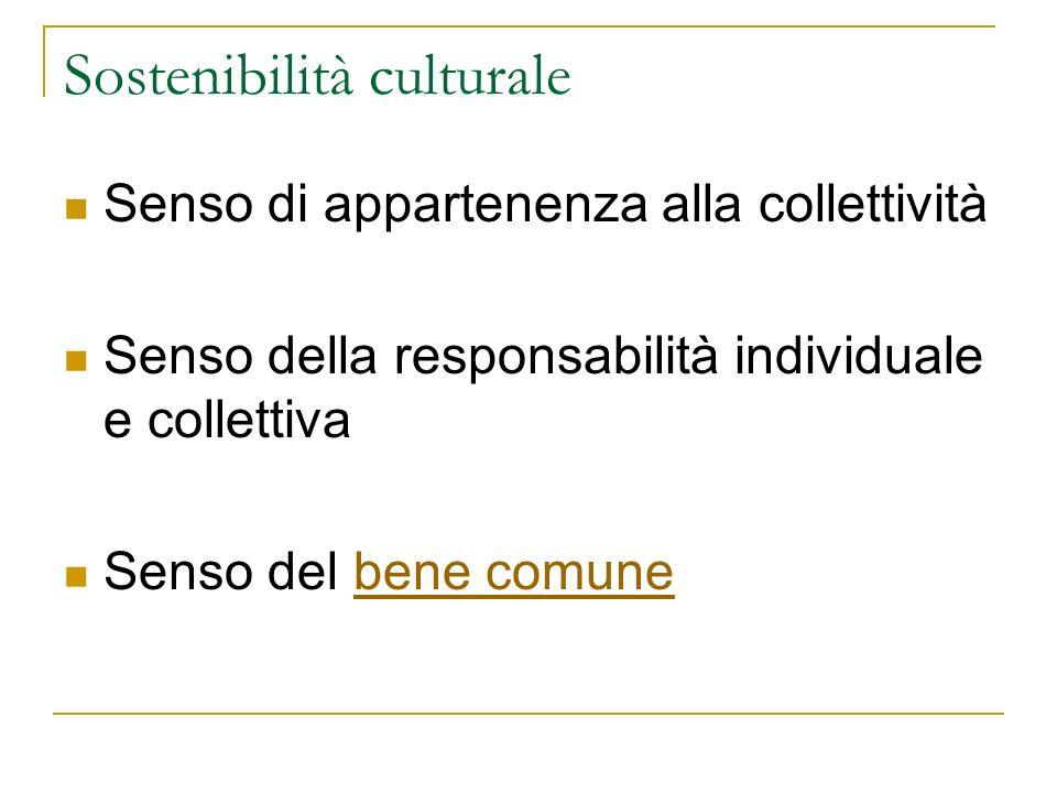 Sostenibilità culturale Senso di appartenenza alla collettività Senso della responsabilità individuale e collettiva Senso del bene comunebene comune