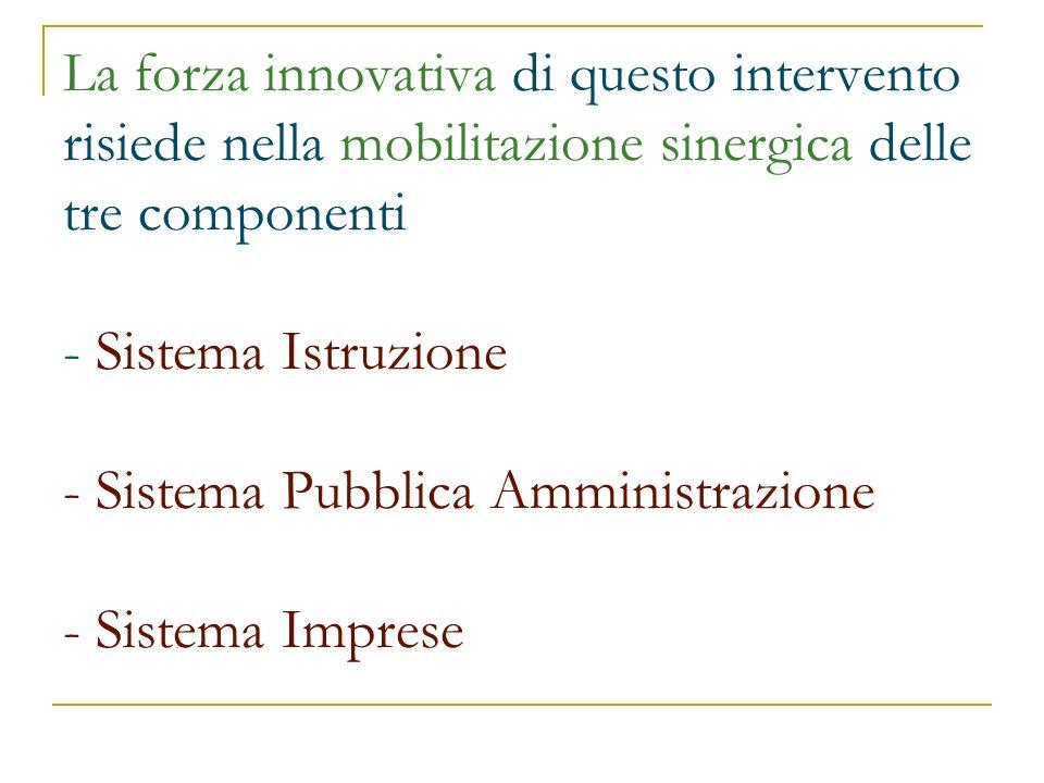 La forza innovativa di questo intervento risiede nella mobilitazione sinergica delle tre componenti - Sistema Istruzione - Sistema Pubblica Amministra