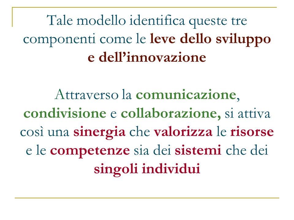 Tale modello identifica queste tre componenti come le leve dello sviluppo e dellinnovazione Attraverso la comunicazione, condivisione e collaborazione