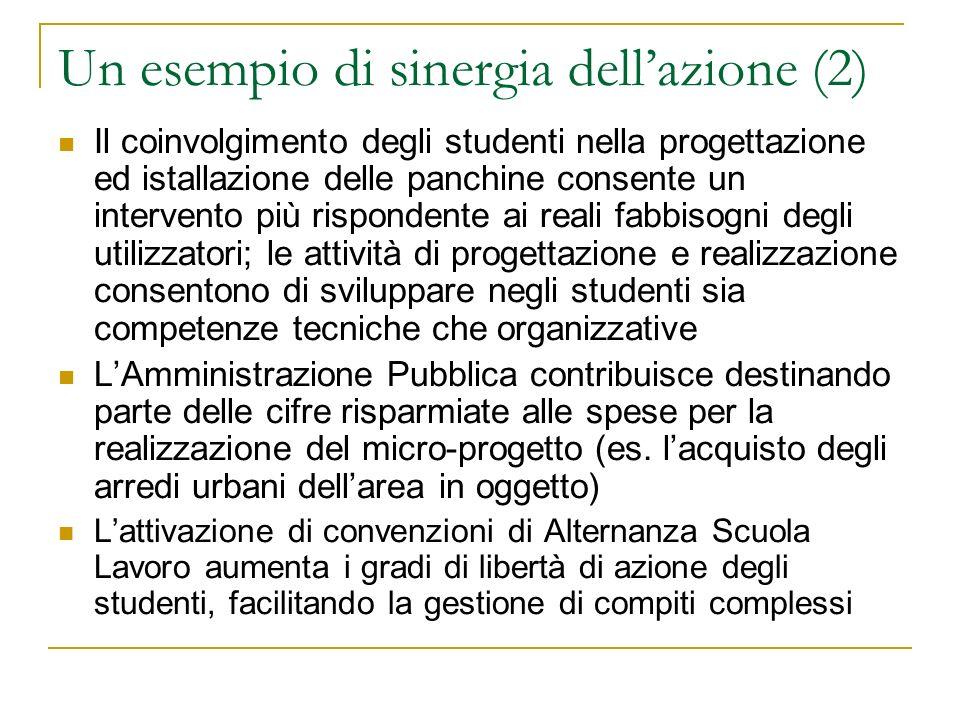 Un esempio di sinergia dellazione (2) Il coinvolgimento degli studenti nella progettazione ed istallazione delle panchine consente un intervento più r