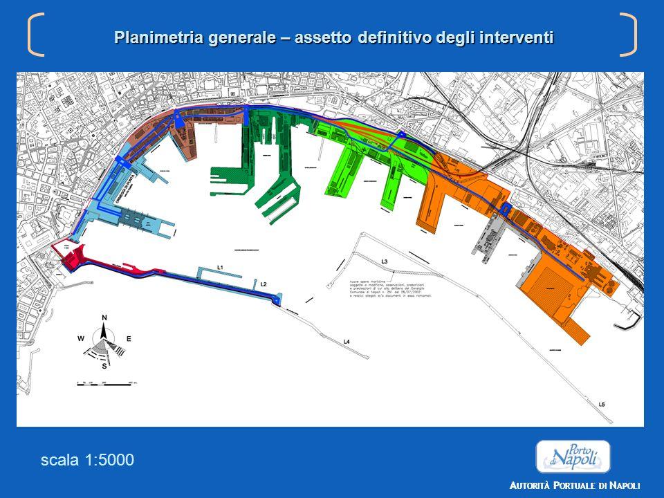 scala 1:5000 Planimetria generale – assetto definitivo degli interventi Area passeggeri Area merci sfuse Area mista Area cantieristica Area containers