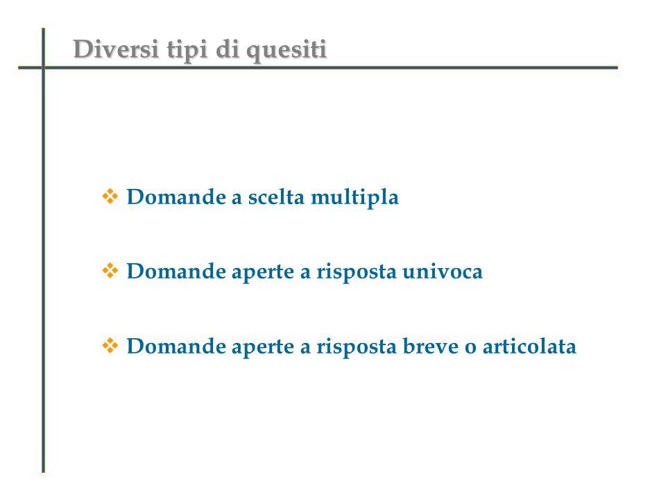 Diversi tipi di quesiti Domande a scelta multipla Domande aperte a risposta univoca Domande aperte a risposta breve o articolata