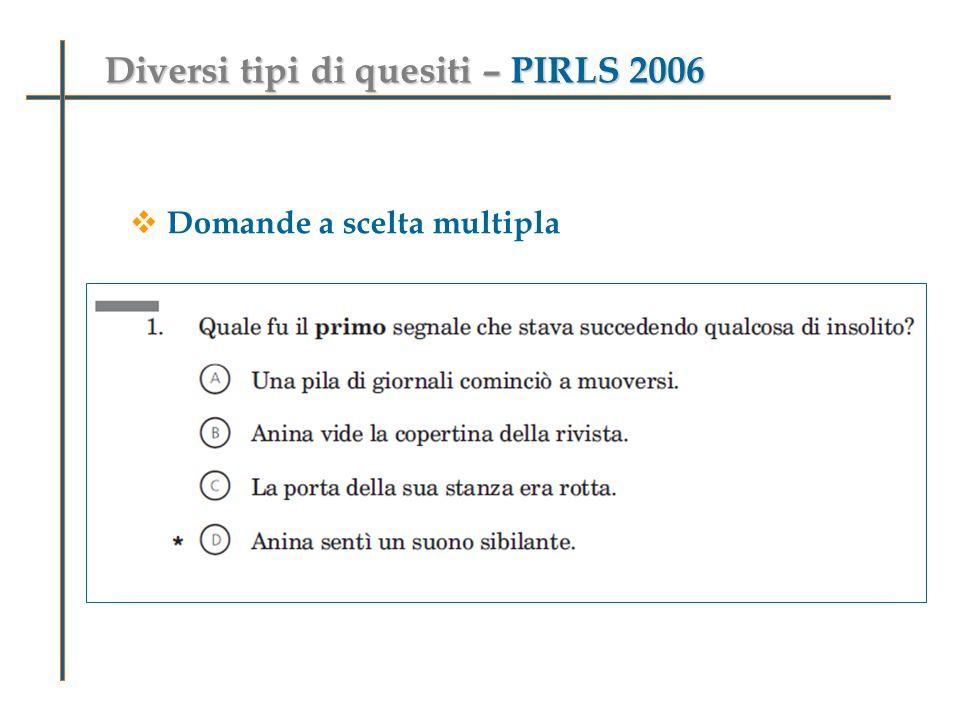 Diversi tipi di quesiti – PIRLS 2006 Domande a scelta multipla Domande aperte a risposta univoca Domande aperte a risposta breve o articolata