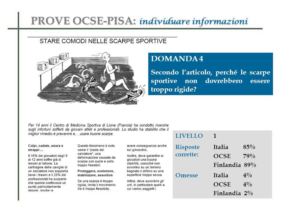 PROVE OCSE-PISA: individuare informazioni DOMANDA 4 Secondo larticolo, perché le scarpe sportive non dovrebbero essere troppo rigide.
