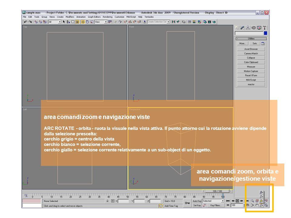 area comandi zoom, orbita e navigazione/gestione viste area comandi zoom e navigazione viste ARC ROTATE - orbita - ruota la visuale nella vista attiva.