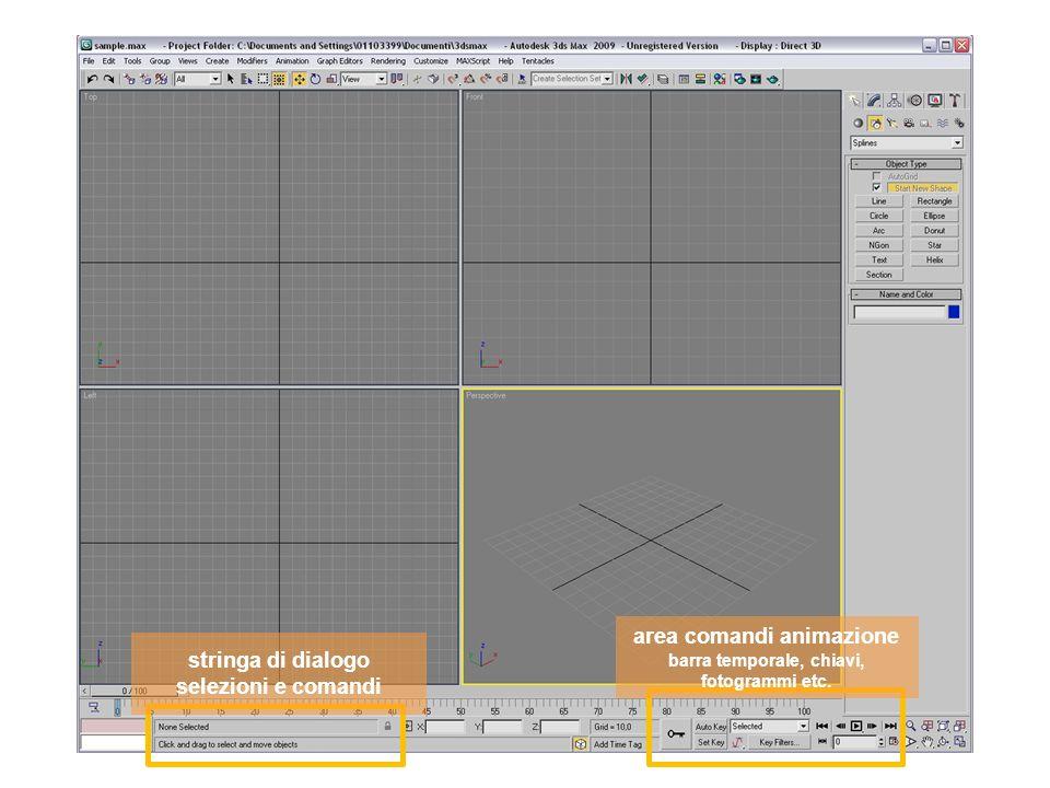area comandi animazione barra temporale, chiavi, fotogrammi etc.