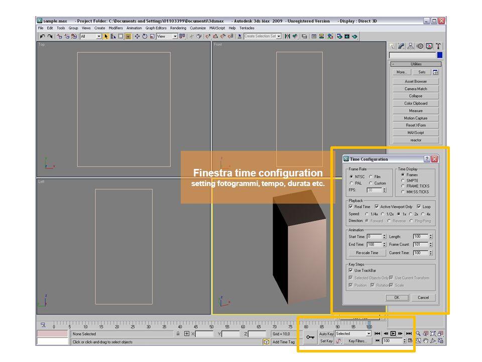 Finestra time configuration setting fotogrammi, tempo, durata etc.