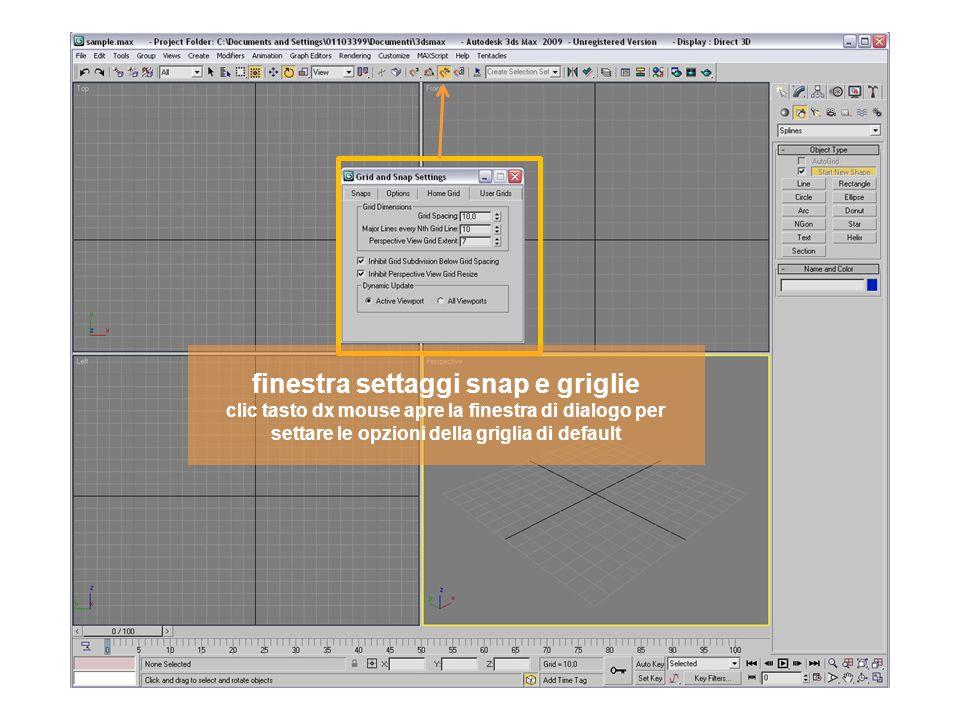 finestra settaggi snap e griglie clic tasto dx mouse apre la finestra di dialogo per settare le opzioni della griglia di default
