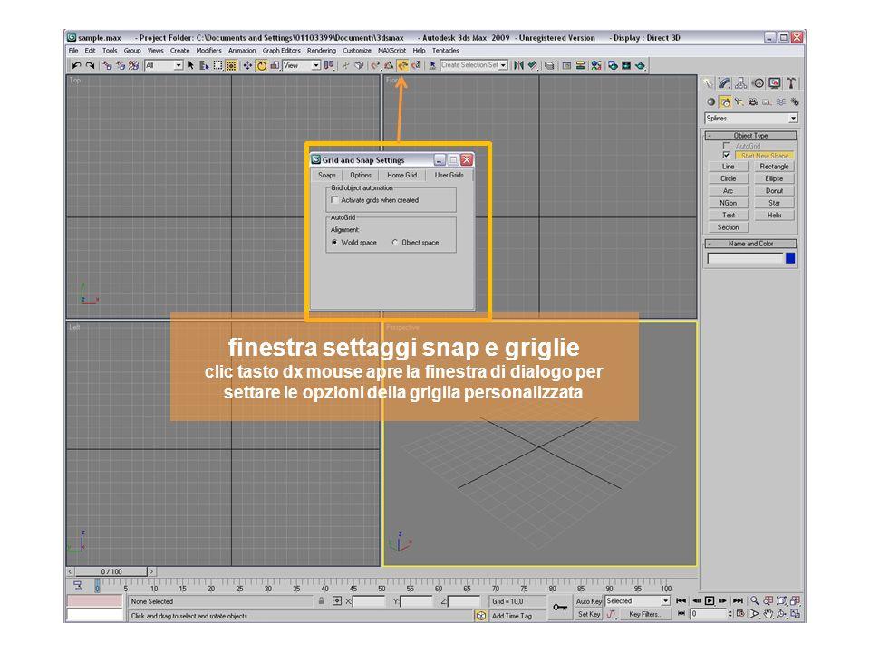 finestra settaggi snap e griglie clic tasto dx mouse apre la finestra di dialogo per settare le opzioni della griglia personalizzata
