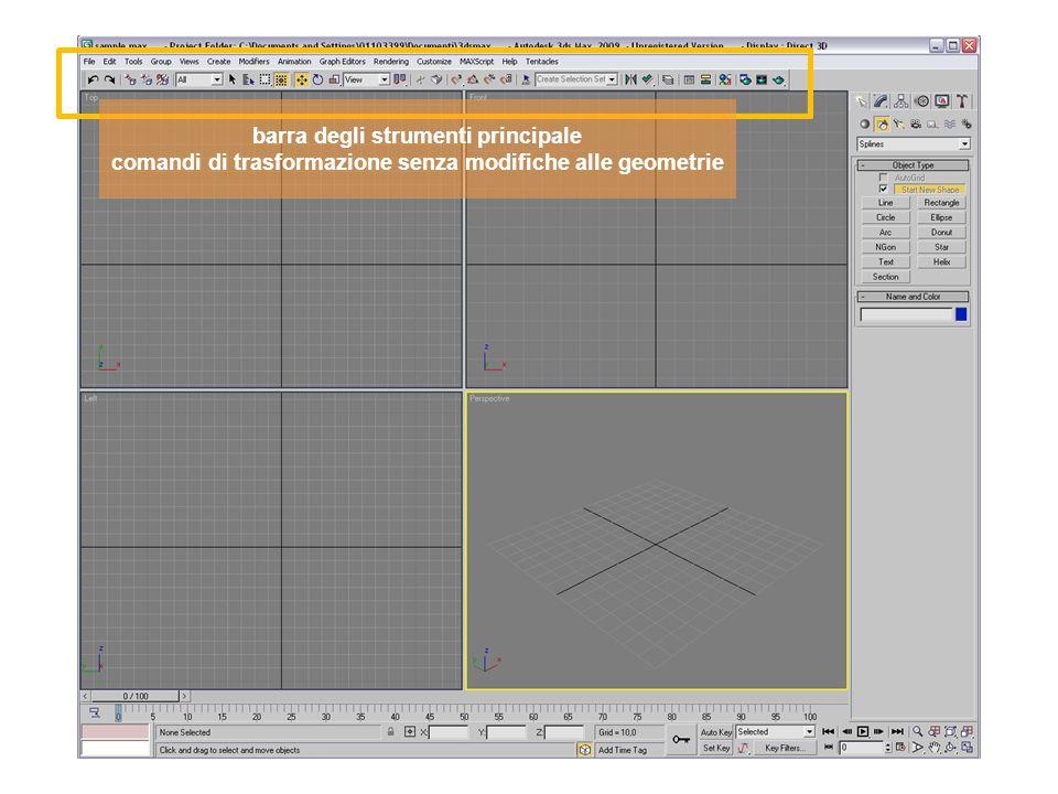 barra degli strumenti principale comandi di trasformazione senza modifiche alle geometrie